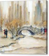 Gapstow Bridge And Lovers Canvas Print