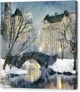 Gapstow Bridge In Snow Canvas Print