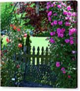 Garden Bench And Trellis Canvas Print