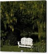 Garden Bench White Canvas Print