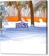 Garden  Bench With Snow Canvas Print