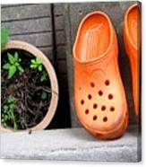 Garden Shoes Waiting Canvas Print