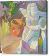 Garden Study With White Angel Figure Canvas Print