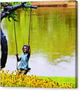 Garden Swing By The River Canvas Print