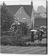 Garden Tour In The Rain Monotone Canvas Print