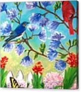 Garden View Birds And Butterfly Canvas Print