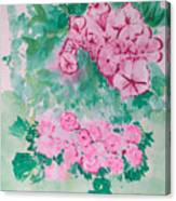 Garden With Pink Flowers Canvas Print