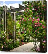 Garden With Roses Canvas Print