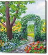 Garden With Sunflowers Canvas Print