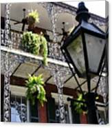 Gas Lamp And Balcony Canvas Print