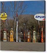 Gas Pumps And Gas Signs Panorama Canvas Print