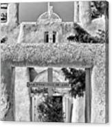 Gate To Ranchos Church Black And White Canvas Print