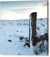 Gatepost In The Snow Canvas Print