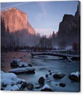 Gates Of The Valley In Winter Canvas Print