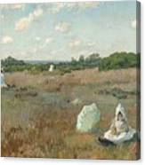 Gathering Autumn Flowers By William Merritt Chase Canvas Print