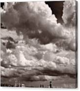 Gathering Clouds Over Lake Geneva Bw Canvas Print