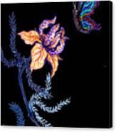 Gathering Nectar On Black Canvas Print