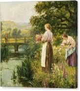 Gathering Spring Flowers Canvas Print