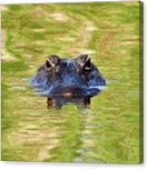 Gator In The Green - Digital Art Canvas Print