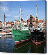 Gdansk Old Town Skyline From The Harbour Canvas Print