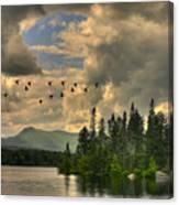 Geese Over Jericho Lake Canvas Print