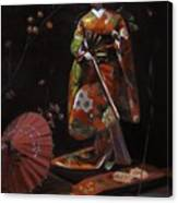 Geisha Doll In Red Canvas Print
