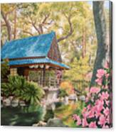 Geisha In A Japanese Garden Canvas Print