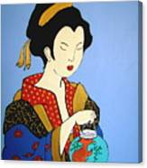Geisha With Fish Canvas Print