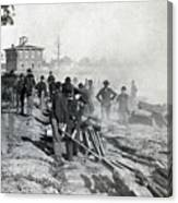 Gen Shermans Troops Destroying Railroad Before The Evacuation Of Atlanta - C 1864 Canvas Print