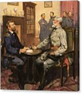 General Grant Meets Robert E Lee  Canvas Print