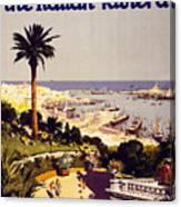 Genoa And The Italian Rivera Vintage Poster Restored Canvas Print