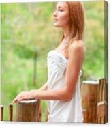 Gentle Woman On Terrace Canvas Print