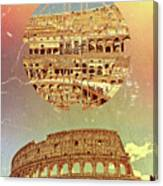 Geometric Colosseum Rome Italy Historical Monument Canvas Print