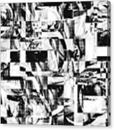 Geometric Confusion - Black And White Canvas Print