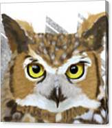 Geometric Great Horned Owl Canvas Print