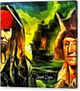 George Washington And Abraham Lincoln The Pirates Canvas Print