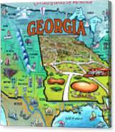 Georgia Usa Cartoon Map Canvas Print