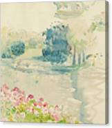 Geraniums By The Lake Canvas Print