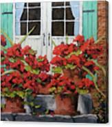 Geraniums On The Porch Canvas Print