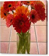 Gerbera Daisies - On Tile Canvas Print