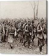 German And Austrian Soldiers Marching Canvas Print