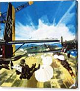 German Paratroopers Landing On Crete During World War Two Canvas Print