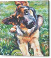 German Shepherd Pup With Ball Canvas Print
