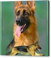 German Shepherd With Name Logo Canvas Print