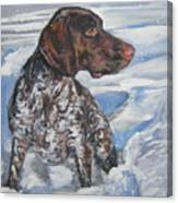 German Shorthaired Pointer In The Snowdrift Canvas Print