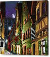 Germany Ulm Old Street Night Moon Canvas Print