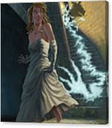 Ghost Chasing Princess In Dark Dungeon Canvas Print