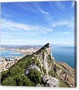 Gibraltar Rock Bay And Town Canvas Print