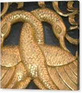 Gilded Temple Carving Of Geese Canvas Print