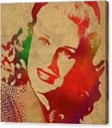 Ginger Rogers Watercolor Portrait Canvas Print